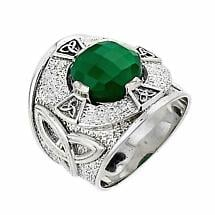 Celtic Ring - Men's Sterling Silver Celtic Knot Ring with Green Agate