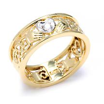 Claddagh Ring - Two-Tone Gold Diamond Claddagh Wedding Band with Celtic Knot