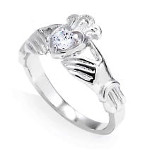 Claddagh Ring - White Gold 0.22 Carats Diamond Claddagh Engagement Ring