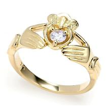 Claddagh Ring - Yellow Gold 0.22 Carats Diamond Claddagh Engagement Ring