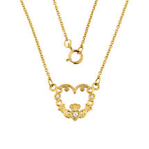Claddagh Necklace - 14k Yellow Gold Diamond Claddagh Necklace
