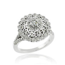 Celtic Ring - 14k White Gold Celtic 1 ct. Diamond Engagement Ring