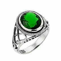 Celtic Ring - Sterling Silver Trinity Knot Emerald Stone Ring