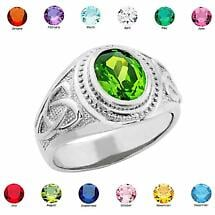 Celtic Ring - Men's Sterling Silver Birthstone CZ Ring