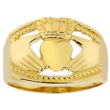 Claddagh Ring - Men's Gold Claddagh Ring Bold