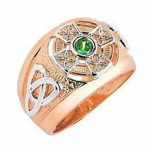 Celtic Ring - Men's Two Tone Rose Gold Celtic Green Emerald CZ Ring
