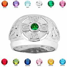 Celtic Ring - Men's Sterling Silver Celtic Birthstone CZ Ring
