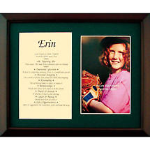 Personalized 8 x 10 First Name with Photo Matted & Framed Print - Green