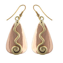 Grange Irish Jewelry - Copper Two Tone Celtic Spiral Triangle Drop Earrings