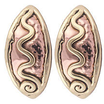 Grange Irish Jewelry - Hammered Copper Two Tone Celtic Spiral Creole Earrings