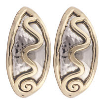 Grange Irish Jewelry - Hammered Silver Two Tone Celtic Spiral Creole Earrings