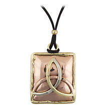Grange Irish Jewelry - Copper Three Color Trinity Knot Square Pendant
