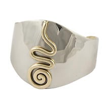 Grange Irish Jewelry - Silver Two Tone Center Celtic Spiral Wide Bangle