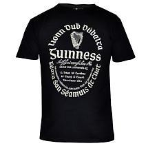 Guinness Shirt - Black Distressed Gaelic Guinness Label Irish T-Shirt