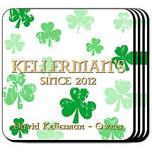 Personalized Irish Coaster Set - Raining Shamrocks