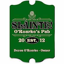 Personalized Vintage Slainte Classic Pub Sign