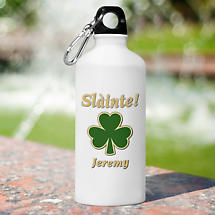 Personalized Irish Water Bottle - Classic shamrock