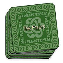 Personalized Irish Family Coaster Set - Celtic Green
