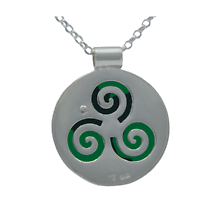 Irish Necklace - Sterling Silver Growing Home Pendant - Green Land