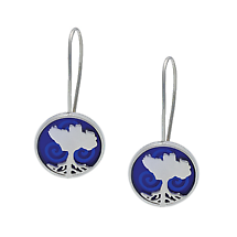 Irish Earrings - Sterling Silver Growing Home Earrings - Blue Ocean