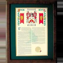 Personalized 16 x 20 inch History with Coat of Arms Matted & Framed Print