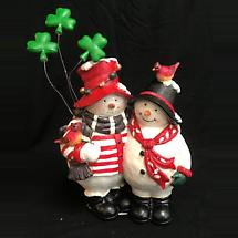 Irish Christmas - Irish Snowman Couple Figurine