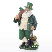 "Irish Christmas - 11"" Musical Irish Santa with Dog Figurine"