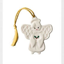 Irish Christmas - Belleek Angel with Holly Ornament