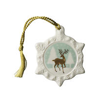 Irish Christmas - Belleek Reindeer Snowflake Ornament