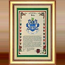 Personalized Irish Coat of Arms Celebration Scroll - Framed