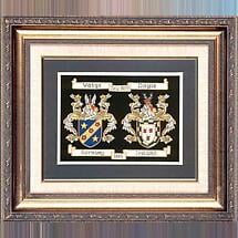 Personalized Framed Irish Double Coat of Arms Hand Stitched Embroidery