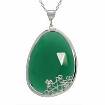 Shamrock Pendant - Green Onyx