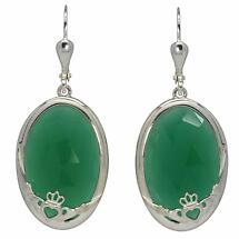 Claddagh Earrings - Green Onyx