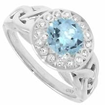 Trinity Ring - Blue Topaz and White CZ Trinity Halo Ring