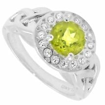 Trinity Ring - Peridot and White CZ Trinity Halo Ring