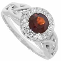 Trinity Ring - Garnet and White CZ Trinity Halo Ring