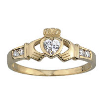 Ladies 9k Gold with Cubic Zirconia Shoulders Irish Claddagh Ring