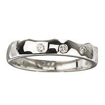 18k White Gold Diamond Band for Irish Claddagh Ring