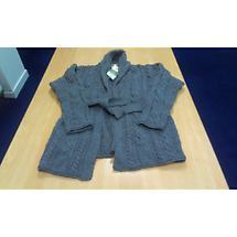 Wool Cardigan Sweater - Ladies Merino Wool Aran Belted Cardigan with Shawl Collar Charcoal