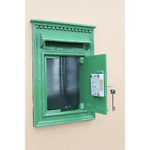 Irish Cast Iron Mail Box Green with Gold Harp