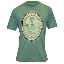 Guinness Shirt - Green Distressed Gaelic Guinness Label Irish T-Shirt