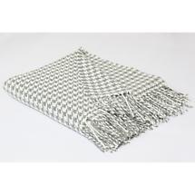 Foxford Grey & Cream Houndstooth Merino Wool Throw