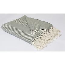 Foxford Grey Herringbone Merino Wool Throw