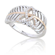 Jean Butler Jewelry - Sterling Silver & 18k Rose Gold Plate with CZ Trinity Knot Irish Ring