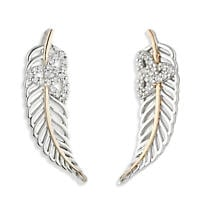 Jean Butler Jewelry - Sterling Silver with 18k Rose Gold Plate Vein Feather CZ Trinity Knot Irish Earrings