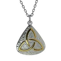 Irish Necklace - Sterling Silver with Gold Plated Trinity Knot Pendant