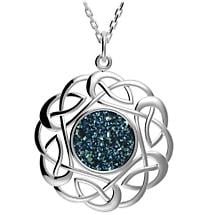 Celtic Necklace - Sterling Silver Round Celtic Knot Drusy Pendant Blue