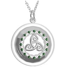 Irish Necklace - Sterling Silver with Green CZ Stones 'Tir na nOg' Celtic Pendant