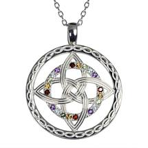 Irish Necklace - Sterling Silver Celtic Knot Rainbow Pendant