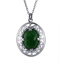 Irish Necklace - Sterling Silver Celtic Pendant with Malachite